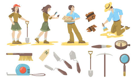 Archeological tools set. Archeologist and paleontologist using shovels, trowels, brushes, compass for finding historical artifacts. Vector illustrations for archeology, geology, discovery concept. Vektoros illusztráció