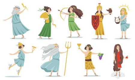 Olympian gods and goddesses. Poseidon, Venus, Hermes, Athena, Cupid, Zeus, Apollo, Dionysus. For Greek mythology, ancient Greece culture concept. Isolated vector illustrations set.