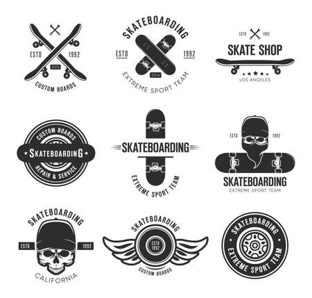 Vintage skateboarding tattoo flat emblems set. Black monochrome labels or signs with skateboard and skull vector illustration collection. Summer, extreme sport and lifestyle concept