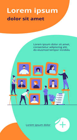Employers choosing candidates for job interview. HR professionals analyzing applicant or employee profiles. Vector illustration for recruit agency, career, business, employment concept Vektorgrafik