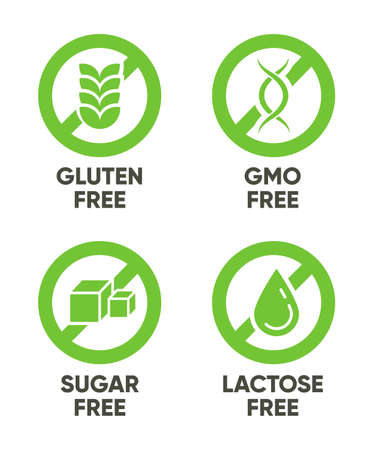 Gluten, GMO, Sugar, Lactose free signs. Set of green symbols with text for allergy, healthy food, natural organic products concept. Vector illustrations isolated on white background
