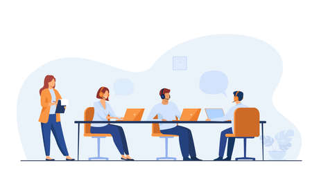 Young operators working in call center isolated flat vector illustration. Cartoon administrator holding clipboard and checking work in office. Customer service and support concept