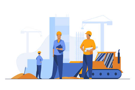 Builders in helmets working at construction site. Machine, building, worker flat vector illustration. Engineering and development concept for banner, website design or landing web page