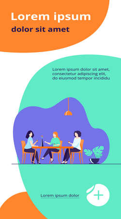 Three female friends sitting in cafe at lunch and talking flat vector illustration. Women hanging out together. Friendship and communication concept.