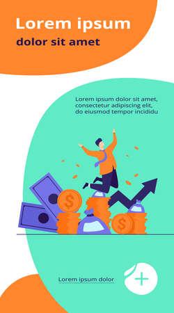 Happy rich banker celebrating income growth. Broker enjoying success in stock market trading. Flat vector illustration for money, finance, millionaire concept Ilustração
