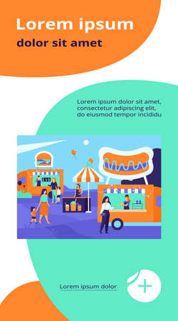 People visiting street food fair. Parents and children buying fast food in trucks outdoors. Can be used for summer food festival, park event concept