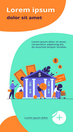 People with money walking to bank building. Queue of characters carrying cash near bank office. Vector illustration for finance, loan, credit department concept Ilustração