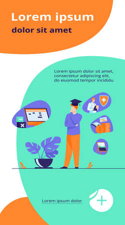 Male student choosing program in college. Young man in graduation cap thinking over future occupation. Vector illustration for opportunities, career advisor, choice concept Ilustração