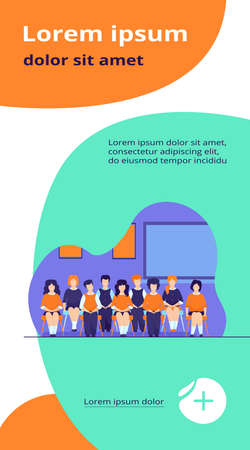 School students posing for class portrait in classroom. Teen girls and boys wearing uniform, sitting on chairs in rows and smiling. Vector illustration for photo, classmates, education concept Ilustração