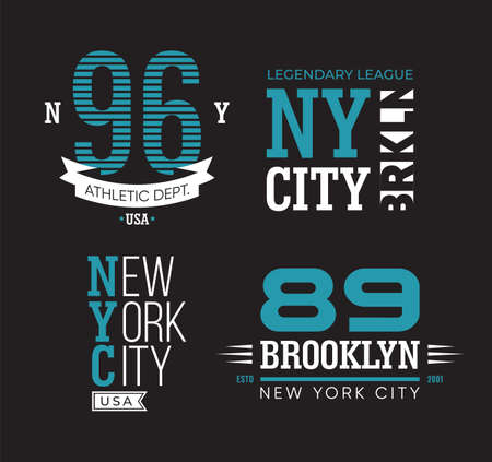 New York and Brooklyn typography flat badges set. Vintage university or college athletic emblems vector illustration collection. Varsity sport label and American retro stamp concept