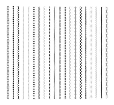Black lines of chain flat illustration set. Chain link and border pattern brush on white background isolated vector collection. Connection and fashion design elements concept