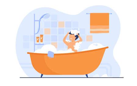 Man having shower or bath, sitting in bathtub with foam, washing hair. Vector illustration for bathroom, body hygiene, relax, morning concept