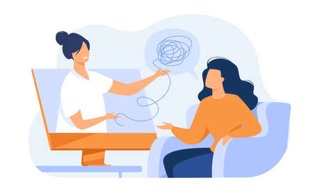 Woman consulting psychologist online. Doctor and patient discussing mental tangled rope, using computer for distance talk. Vector illustration for counseling, therapy, psychology, support concept. Иллюстрация