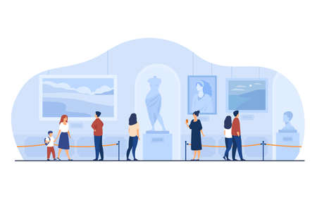 Museum visitors walking in art gallery. Tourists enjoying exposition, admiring artworks at exhibition. Vector illustration for excursion, people and culture concept.