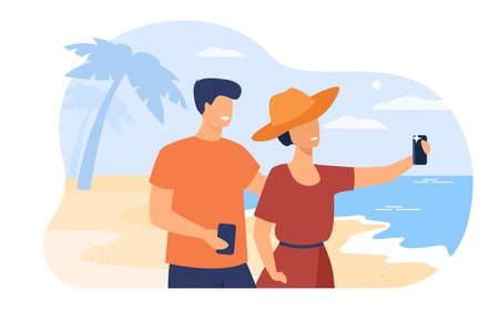 Happy young couple taking photo with cellphone flat vector illustration. Cartoon man and woman enjoying travel. Summer vacation and beach holiday concept