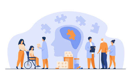 Senior patient medical rehabilitation flat vector illustration. Cartoon doctors giving treatment to people with brain disease and Alzheimer. Neurology therapy and medicine concept