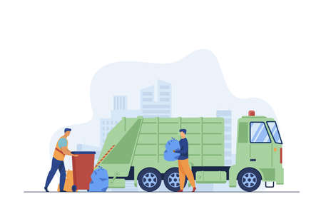 Trash pickup worker cleaning dustbin at truck. Man carrying trash in plastic bag flat vector illustration. City service, waste disposal concept for banner, website design or landing web page Vector Illustration