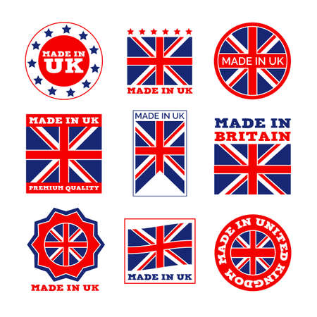 Great Britain product flat emblem set. Made in England original badge with British flag isolated on white background vector illustration collection. Manufacturing and premium quality concept