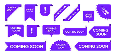 Coming soon flat promo banners set. Bright grand sale and new arrival corners, stickers and tag labels on white background vector illustration collection. Ribbon signs and buttons concept Illusztráció