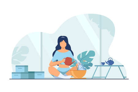 Woman sitting on floor and watering plant. Home, water, leaf flat vector illustration. Hobby and house garden concept for banner, website design or landing web page