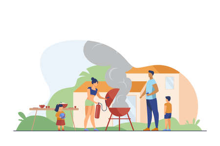 Mother holding fire extinguisher extinguishing burnt barbecue. Smoke, BBQ, backyard flat vector illustration. Family and weekend concept for banner, website design or landing web page 向量圖像