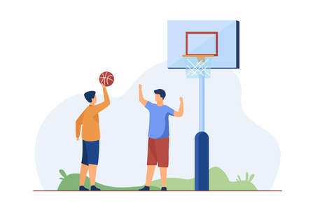 Teenagers playing basketball on street. Ball, boy, friend flat vector illustration. Sport game and summer activity concept for banner, website design or landing web page