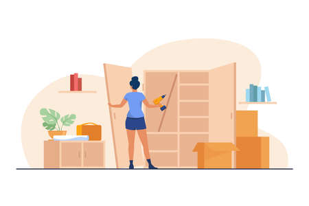 Woman repairing wardrobe with hand drill. Door, wood, assembly flat vector illustration. Furniture and renovation concept for banner, website design or landing web page