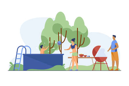 People playing, swimming, cooking at backyard. Barbecue, park, nature flat vector illustration. Summer activity and weekend concept for banner, website design or landing web page