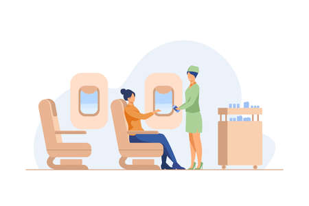 Flight attendant giving water to female passenger. Service, airplane, beverage flat vector illustration. Travelling and vacation concept for banner, website design or landing web page Illusztráció
