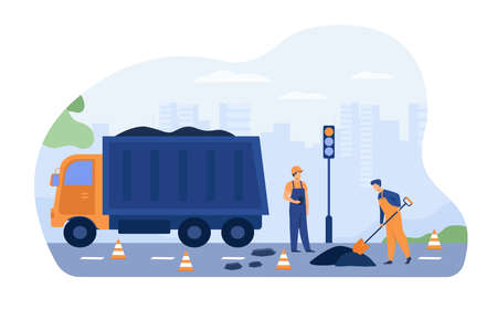 Road workers spreading asphalt on street, repairing highway, working near heavy car. Vector illustration for labor, city maintenance, engineering concept