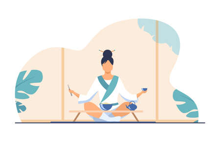 Chinese woman sitting at small table and eating. Tea, rice, chopstick flat vector illustration. Tradition and nation concept for banner, website design or landing web page