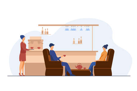 Man and woman drinking tea on cafe. Glass, armchair, cup flat vector illustration. Leisure and urban lifestyle concept for banner, website design or landing web page