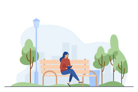 Woman sitting on bench and reading book. Park, city, relaxation flat vector illustration. Weekend and nature concept for banner, website design or landing web page 向量圖像