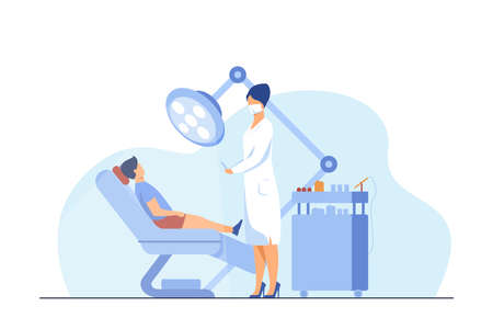 Female dentist curing boy in chair. Tooth, treatment, toothache flat vector illustration. Stomatology and medicine concept for banner, website design or landing web page 向量圖像