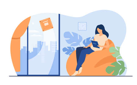 Woman relaxing at home while robot washing window. Female character sitting in armchair while machine cleaning room. Flat vector illustration for robotic cleaner, smart home, automation concept 向量圖像