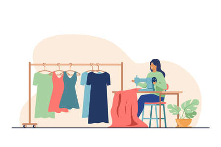 Woman sewing new dress on stitching machine. Seamstress, cloth, apparel flat vector illustration. Fashion and craftwork concept for banner, website design or landing web page 向量圖像