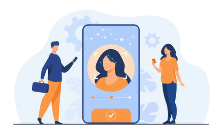 Face recognition and data safety. Mobile phone users getting access to data after biometrical checking. For verification, personal ID access, identification concept Illusztráció
