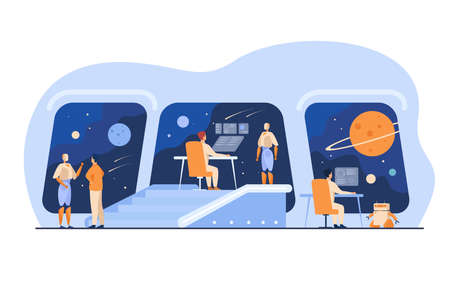 Futuristic space station interior with human and robotic crew. People and robots monitoring galaxy. For interstellar spaceship bridge, science fiction, intergalactic travel concept