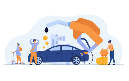 High price for car fuel concept. People wasting money for gasoline, changing car for scooter, saving cash. Flat vector illustration for economy, refueling, city transport concept Illusztráció