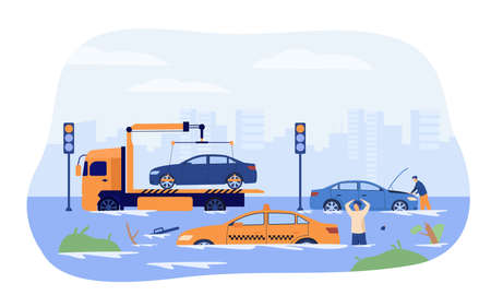 Water flood on city roads. Drivers and tow truck saving damaged cars from heavy rain and storm. Vector illustration for rainfall season, rain period, natural disaster concept