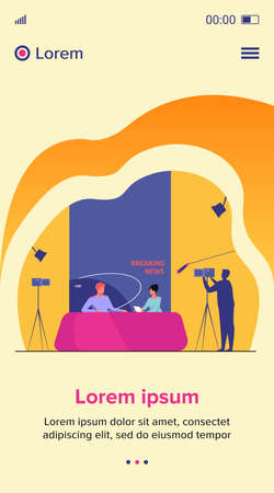 TV show shooting with film crew and backstage. News anchors talking to each other, posing for camera in studio. Vector illustration for breaking news, broadcasting, reporters concept