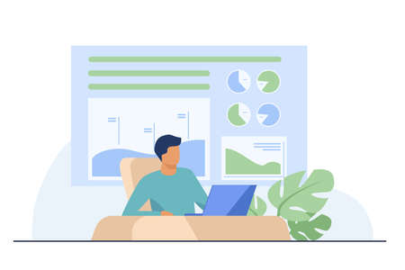 Trader sitting and working at laptop. Bar charts, pie diagrams in background flat vector illustration. Workplace, stock market, communication concept for banner, website design or landing web page