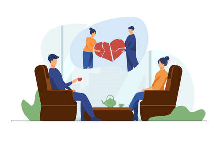 Couple going through conflict. Man and woman drinking tea, connecting broken heart together flat vector illustration. Conflict, family therapy concept for banner, website design or landing web page Illusztráció