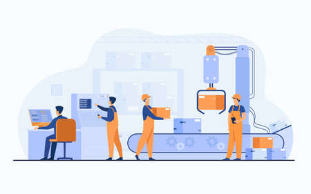 Factory workers and robotic arm removing packages from conveyor line. Engineer using computer and operating process. Vector illustration for business, production, machine technology concepts Иллюстрация