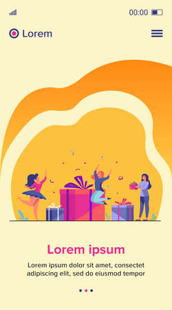 Group of young people celebrating birthday in surprise party. Friends giving gift boxes wot birthday girl. Vector illustration for celebration, festive event, presents, fun concept