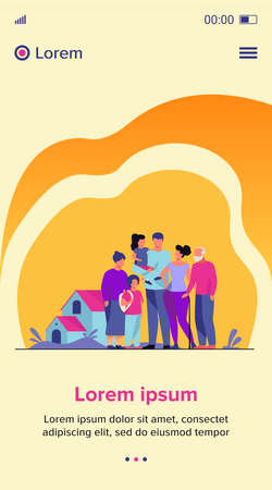 Big family meeting. Couple with senior parents and two kids standing together at suburban house. Vector illustration for love, togetherness, lifestyle concept