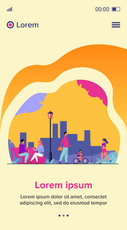 People relaxing at park in summer flat vector illustration. Woman jogging and doing exercise. Couple chatting at bench. Character walking outdoor. Person riding bicycle. Fun and leisure concept 矢量图像