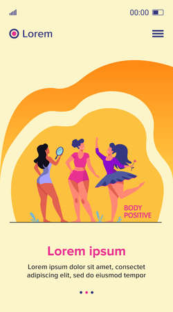 Happy girls admiring their bodies flat vector illustration. Body positive female characters smiling each other. Active women with plus size figures. Different beauty, fashion and healthy lifestyle Stock Illustratie