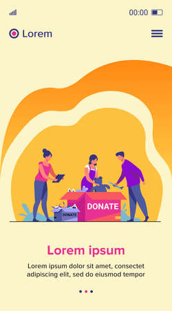 Volunteers packing donation boxes. People donating toys, foods, sweets. Vector illustration for charity, welfare, assistance concept