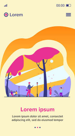 People enjoying cherry tree blooming season in park. Children and adults walking at adorable sakura trees with pink blossoms. Vector illustration for spring, hanami, nature, leisure concept